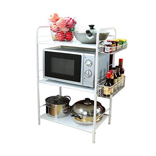 HYYDP Organizador Rack Soporte de horno de microondas de cocina de 3 niveles con canasta colgante Estante de almacenamiento ajustable laminado Estante de especias con almohadillas de protección Estant