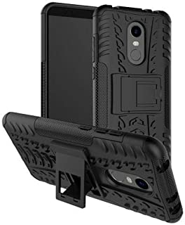Okteq Tyre Pattern Kickstand PC with TPU Hybrid Case for Xiaomi Redmi Note 5 - Black