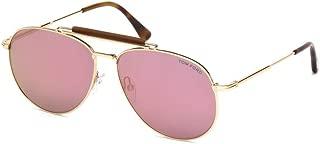 Sean FT0536 28Z Unisex Rose Gold & Pink Mirror Lens Aviator Sunglasses
