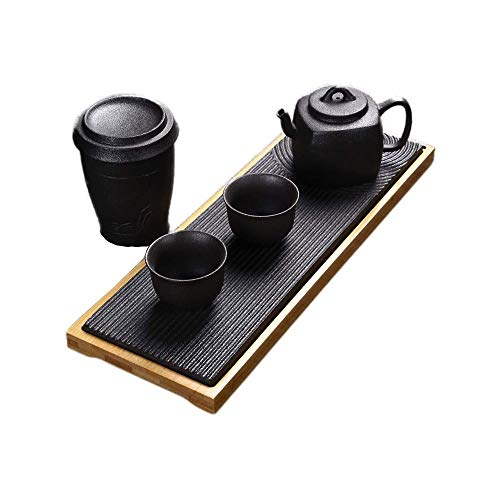 LKNJLL Portable Tea Set Travel Ceramic Porcelain Tea Ware Teapot Canister Teacups Tea Clip Towel Tray