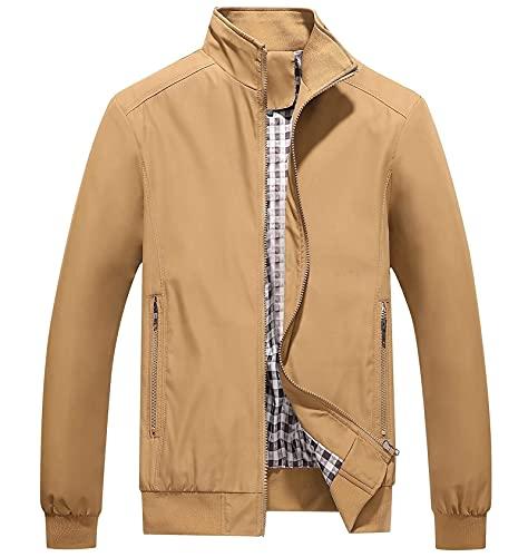SKYWPOJU Męskie kurtki męskie casualowe kurtki płaszcze wiosenne (Color : Khaki, Size : XXXXX-Large)