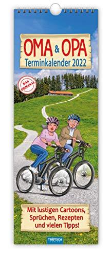 Trötsch Maxi Streifenkalender Oma und Opa 2022: Wandkalender: Mit lustigen Cartoons, Sprüchen, Rezepten und vielen Tipps!