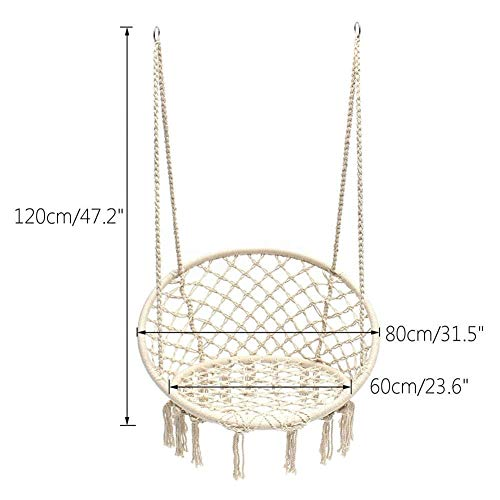Hanging Chair with Hanging Kits, Pillow, Cushion and Glowing Lights, Comfortable Sturdy Hanging Chairs, Cotton Rope Macrame Swing Chair, Outdoor, Bedroom, Patio, Yard, Garden, Home,L
