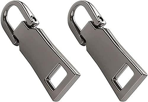2個入り ファスナー 交換用 ジャンパー プルタブ ファスナー 引き手 金属製 高級感 簡単ジッパー修理 ブラック 修理用 カバン 財布 衣類 靴 裁縫材料 手作り