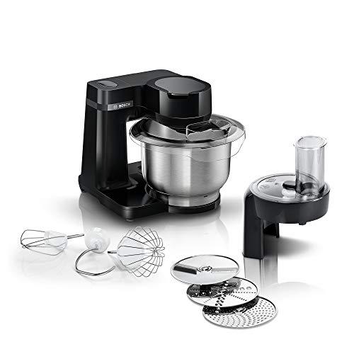 Bosch MUMS2EB01 Küchenmaschine MUM Serie 2, 700 W, 3,8 L Edelstahlschüssel, Durchlaufschnitzler und 3 Scheiben, Patisserieset Edelstahl, schwarz