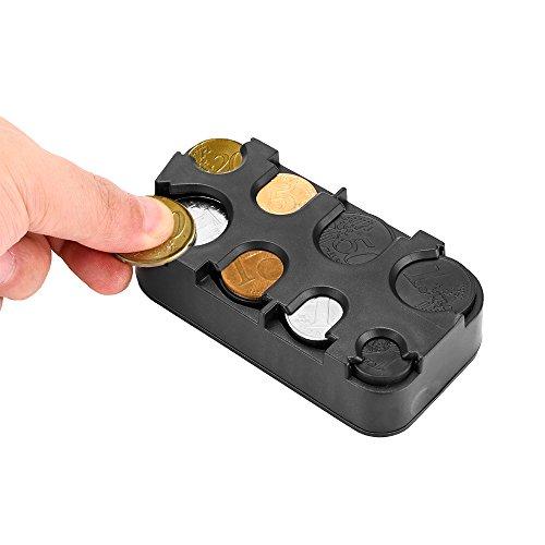 OurLeeme Moneda Interior del Coche sostenedor de la Caja de Almacenamiento envase de la Caja del dispensador de Monedas de Euro para Organizador (1PCS)