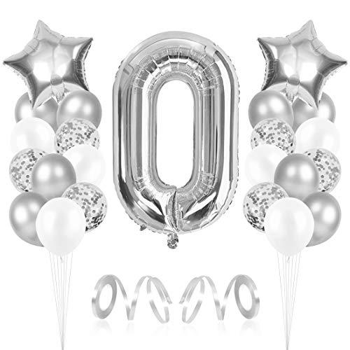 Bluelves Luftballon 0. Geburtstag, Folienballon Zahl 0 Silber, Geburtstagsdeko Jungen Mädchen 0 Jahr, Helium Riesen Zahlenballon 0, Deko zum Geburtstag für Kinder, Junge, Mädchen