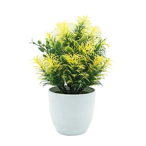 SuperglockT Kunstpflanze Kunststoff Vielblättriger Heckenbambus Künstliche Bonsai Baum Topfpflanzen Kunstbaum für Tischdeko Hochzeit Geburtstag Balkon Hochzeit (Gelb)