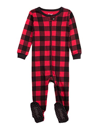 Leveret Kids & Toddler Boys Girls Footed Pajamas 100% Cotton Red & Black Plaid (Size 0-3 Months)