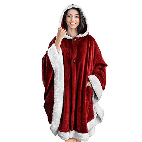 Blanket Jumpers, Warm Lazy Fleece Pijama, Franela con Capucha Bolsillo Albornoz Pullover Sudadera,A7,One Size