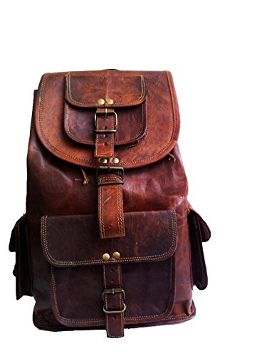 "jaald 16"" Genuine Leather Retro Rucksack Backpack College Bag,School Picnic Bag Travel"