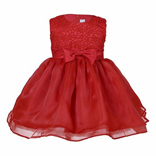 iiniim Bébé Fille Robe de Baptême Dentelle Rose sans Manches Tutu Robe Volantés Princesse Cérémonie Grande Taille 6-24 Mois Rouge 6 Mois