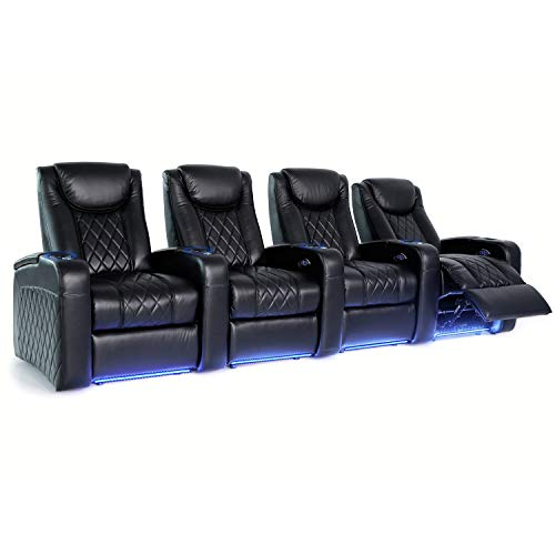Octane Seating Azure LHR Home Theater Seats - Black Top Grain Leather - Power Recline - Motorized Lumbar & Headrest - Lighted Cup Holders - Straight Row 4