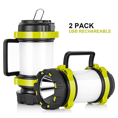 Lantern Flashlights with 4000mAh Power Bank, Red Strobe Light for Emergency, 800 Lumens, USB Rechargeable, 4 Lighting Modes, Kamspark LED Lantern for Camping, Fishing, Searching, Hiking (2 Pack)
