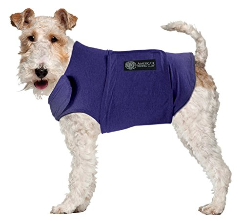 AKC - American Kennel Club Anti Anxiety and Stress Relief Calming Coat for Dogs, Essential for Thunderstorm season and 4th of July Fireworks- Blue, Medium