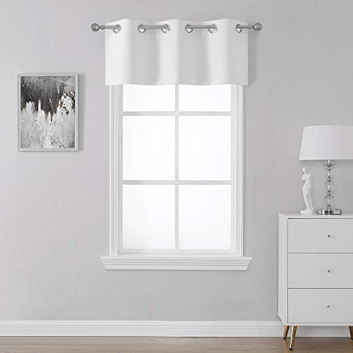 SeeGlee Pure White Kitchen Small Window Curtain Valance - Room Darkening Thermal Insulated Eyelet Top Curtain Panel - 1 Piece Valance(36 W by 16 Long)