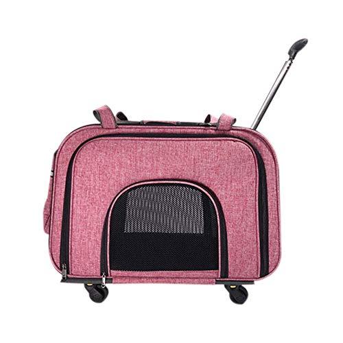 Sebasty Bolso for Mascotas, maletín con Ruedas for Mascotas Rueda silenciosa de Cuatro Ruedas, Desmontable y fácil de Lavar, con Tres Lados, Maleta portátil Transpirable for Mascotas, Rosa