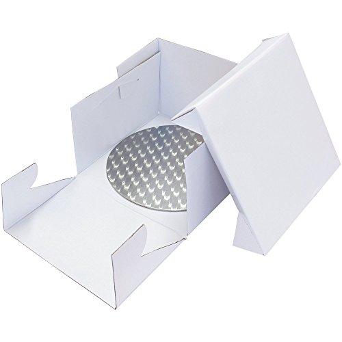 PME Runde Tortenplatte und Tortenschachtel 33 cm, Kunststoff, Weiß, 33 x 33 x 15.2 cm