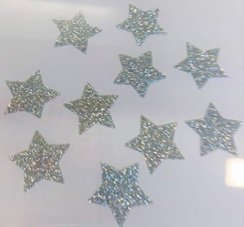 SAFIRMES 10 Sterne, Hotfix, zum Aufbügeln, Glitter, Silber, 2,5 cm