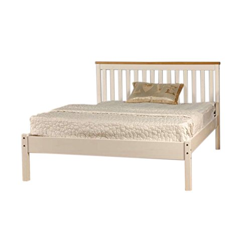 Comfy Living 5ft King Low End Solid Wooden Medina Bed Frame in White with Caramel Bar