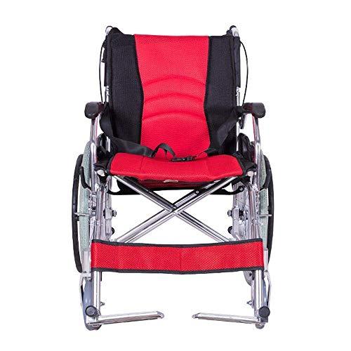 SILOLA Kostenloser tragbarer Klapprollstuhl aus Aluminium Manuell aufblasbarer Rollstuhl Schwarz Ergonomisch geeignet für ältere Menschen und Reisende