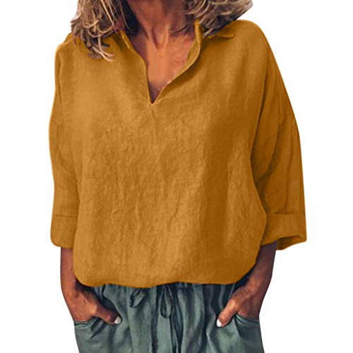 Yvelands Mujeres Top Casual Blusa de algodón sólido Camiseta de Manga Larga Camiseta Suelta