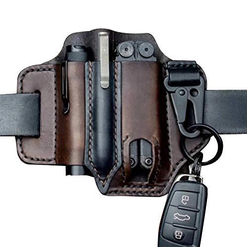 ZHiveS Multitool Leather Sheath EDC Pocket Organizer Belt Pouch Tactical Pen Flashlight Storage Bag Outdoor Brown
