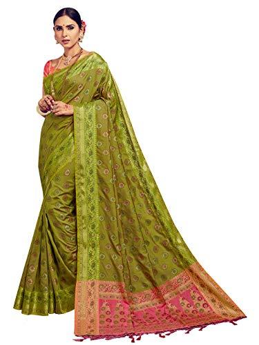 Sarees for Women Banarasi Kanjivaram Art Silk Woven Saree l Indian Ethnic Wedding Gift Sari with Unstitched Blouse Olive Green