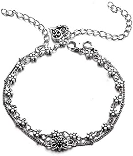 Women Exquisite Hollow Butterfly Flower Heart Love Chain Bead Pendant Silver Anklet Charm Beach Party Jewelry