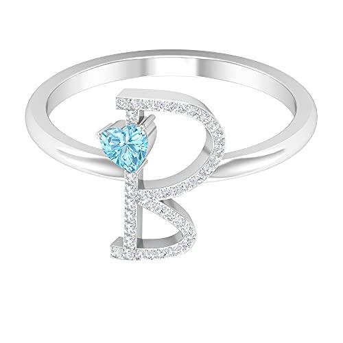 B Alphabet Ring, Gold Initial Ring, Einzigartiger Verlobungsring, 3,5 mm Herzform Aquamarin Ring, HI-SI Runder Aquamarin Ring, Personalisierter Ring, 14K Weißes Gold, Aquamarin, Size:EU 61