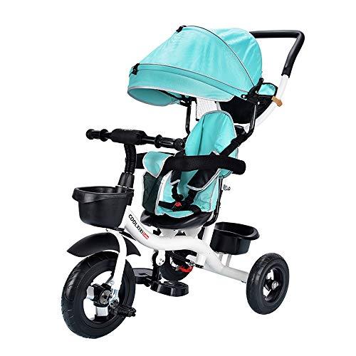 SSRS Baby driewieler, Kids Push wandelwagen Afneembare luifel Silent Wielen Putters Five-Point Seat Belt Multi-functie Kinderdriewieler Leren Fietsgeschikt voor 12 Maanden tot 6 Jaar oud