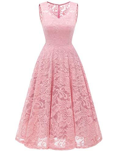 Meetjen Damen Elegant Spitzenkleid V-Ausschnitt Unregelmässig Vokuhila Kleid Festlich Cocktail Abendkleid Midi Pink S