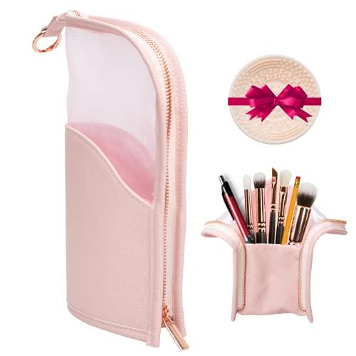 KL- Bolsa de cosméticos de pie, color rosa, accesorios de oro rosa, estuche de aseo transparente, lujoso, compacto y de alta capacidad, soporte para lápices y brochas de maquillaje, organizador