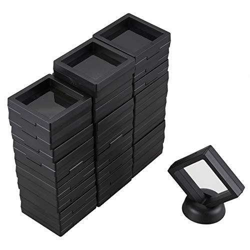 Beyda Caja de ExhibicióN de Monedas - Conjunto de 30 Soportes de ExhibicióN de Marco Flotante 3D con Soportes para Monedas de DesafíO, Medallones AA, Joyas, Negro