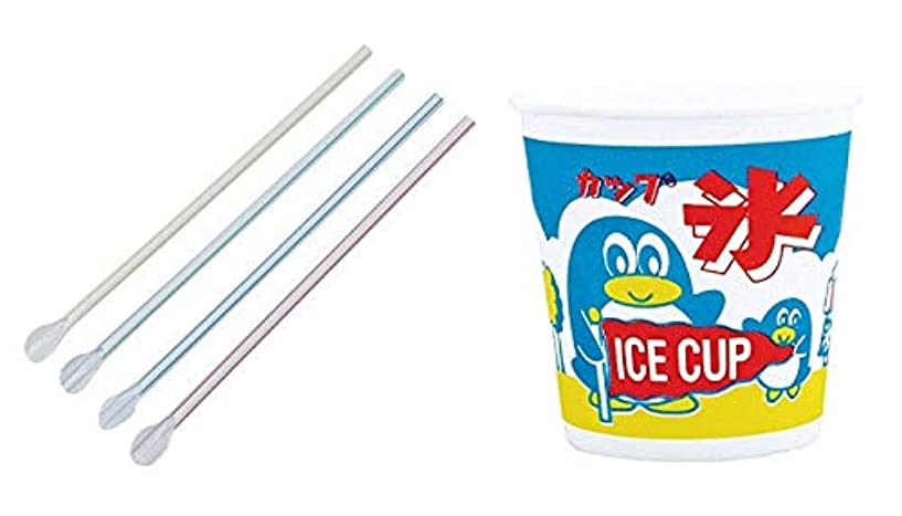 蜜収益バスかき氷カップ 発泡容器 ペンギン柄 380ml & スプーンストロー ストライプ 100個セット
