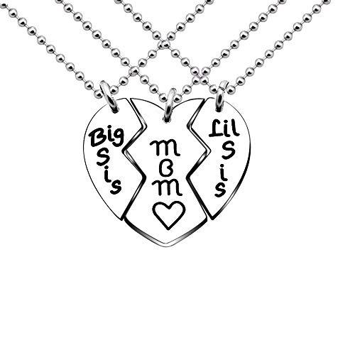 KENYG 3 PCS Pack Broken Heart Shape Pendant Big Sis Mom Little Sis Ball Necklace Family Member Jewellery