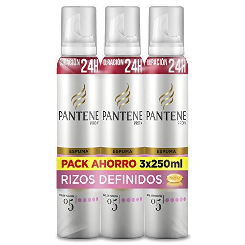 Pantene Espuma Rizos Definidos, 24H de duración, Nivel de fijación 5, 3 Espumas de 250 ml