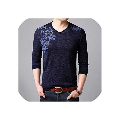 Men Cashmere Sweater V-neck Elbow Pads