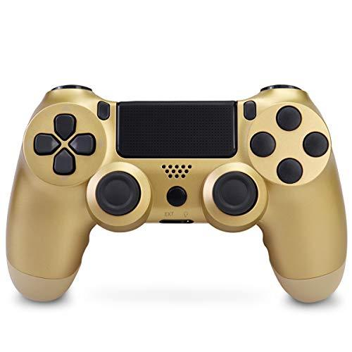 Mando Inalámbrico para PS4, Mando Inalámbrico Gamepad Doble Vibración Seis Ejes Mando Game Compatible con Playstation 4/PS4 Slim/PS4 Pro (Dorado)