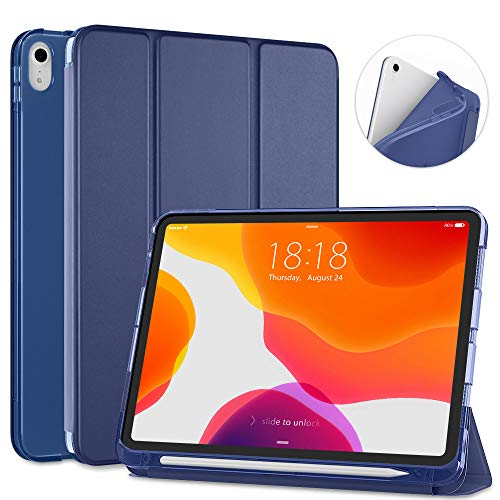 DTTO iPad Air 4 case iPad Air 4th Generation case iPad 10.9 case with Apple Pencil Holder , Translucent Frosted Back Smart Cover , Navy Blue