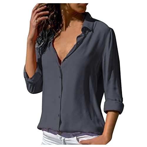 TYTUOO Blusas de negocios de manga larga con botones y cuello vuelto, camisas de color sólido suelto, manga...