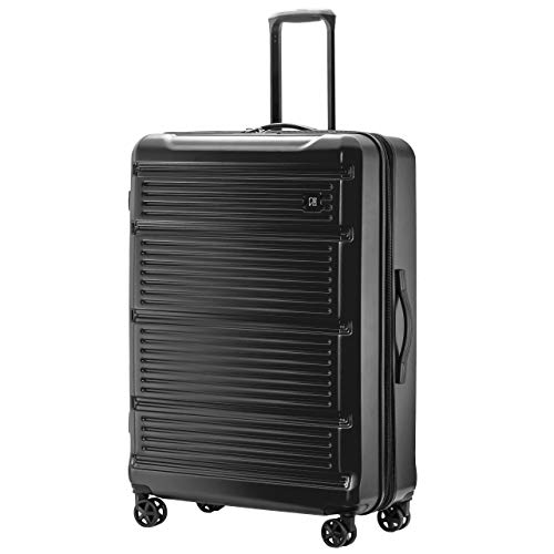 REVO Arro Hardside Expandable Luggage with Spinner Wheels, Made in USA, Checked-Large 30 Inch, Black