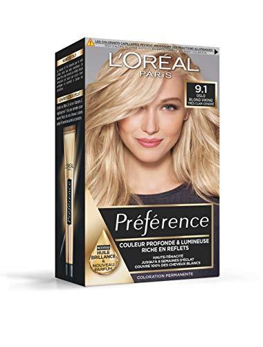 L'Oréal Paris Préférence Coloration Permanente Cheveux, Nuance : Oslo Blond Viking (9.1), Blond Très Clair Cendré