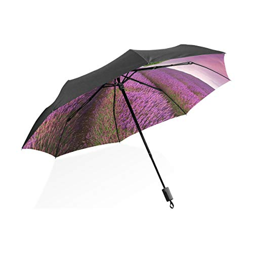 Little Kid Umbrella Lavender Field With Single Tree Sunset Landscape Portable Compact Folding Umbrella Anti Uv Protection Windproof Outdoor Travel Women Hiking Umbrella