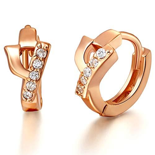 KnSam Pendientes de plata para mujer con circonitas, letras y circonitas, oro rosa