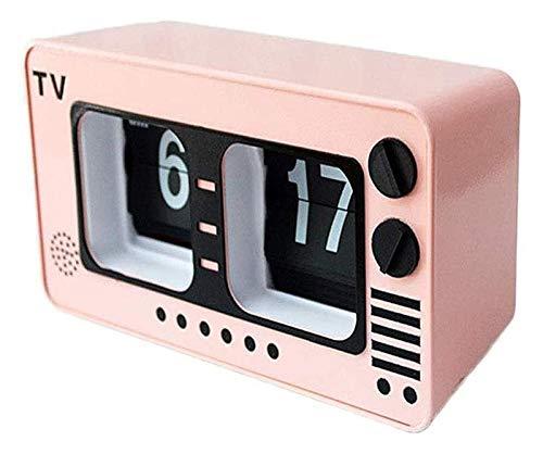 BFBZ Televisión Auto tirón del Reloj Retro de la TV Digital tirón Operación de Engranaje del Reloj Interno for el hogar decoración de la Pared Escritorio y Estante Relojes 1023