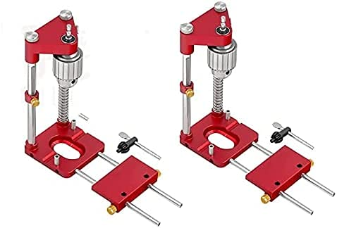 Woodworking Punch Locator,Portable drilling locator,Woodpeckers precision locator,Centering Dowelling Jig Kit Wood Dowel Hole Drilling Guide Woodworking Tool Punch Positioner Locator (2Pcs Red)