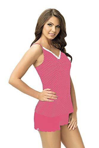 e.FEMME® Conjunto de pijama para mujer de algodón con camiseta y pantalones cortos Kitty 899 Amaranth. 48