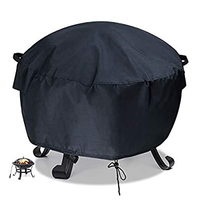Flymer Garden Fire Pit Covers Patio Brazier Fire Bowl Covers Heavy Duty 420D Oxford Waterproof Tearproof Furniture Covers Square/Rectangle/Round Outdoor Covers, Black(?76x30cm) by Flymer