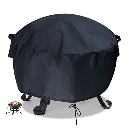 Flymer Garden Fire Pit Covers Patio Brazier Fire Bowl Covers Heavy Duty 420D Oxford Waterproof Tearproof Furniture Covers Square/Rectangle/Round Outdoor Covers, Black(Φ81x40cm)